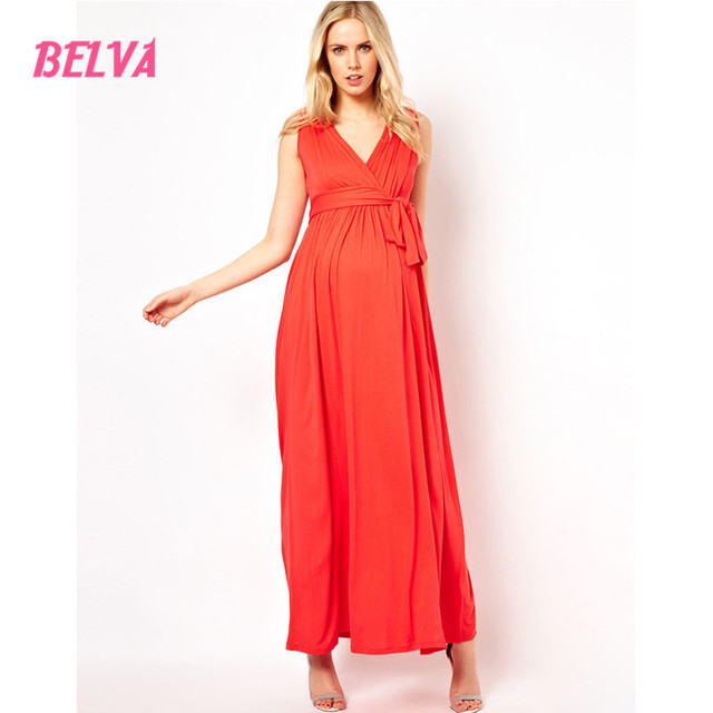 Belva 2017 Women's Soft Natural Bamboo Sleeveless Fiber Tunic pregnancy dress maternity clothes dresses for photo shoot 307086