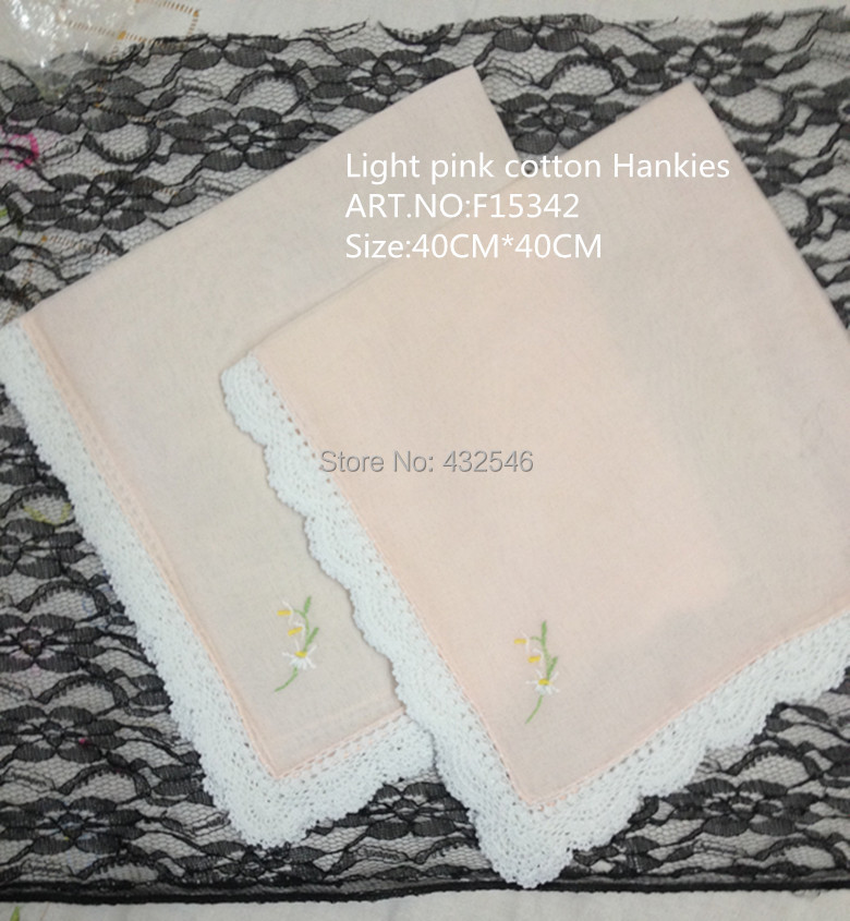 Set Of 11 Novelty Ladies Handkerchiefs  40*40CM Light Pink Cotton White Embroidered Crochet Lace Edging Hankies Hanky For Bride