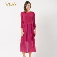 VOA Plus Size Silk Georgette Dress Vintage Red Fake Two Set Brief Solid High Waist Slim Casual Women Midi Spring A6566
