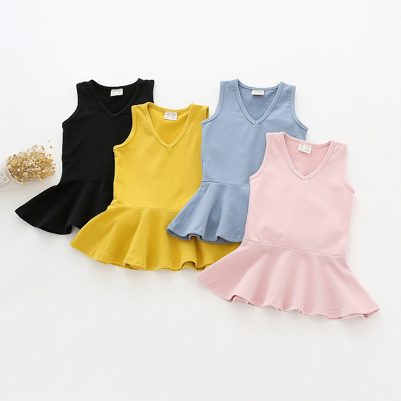 4 Colors Dress For Girl V-neck Baby Girls Sundress Soft Cotton Girls Clothes Infant Christmas Vestidos Solid Kids Costumes