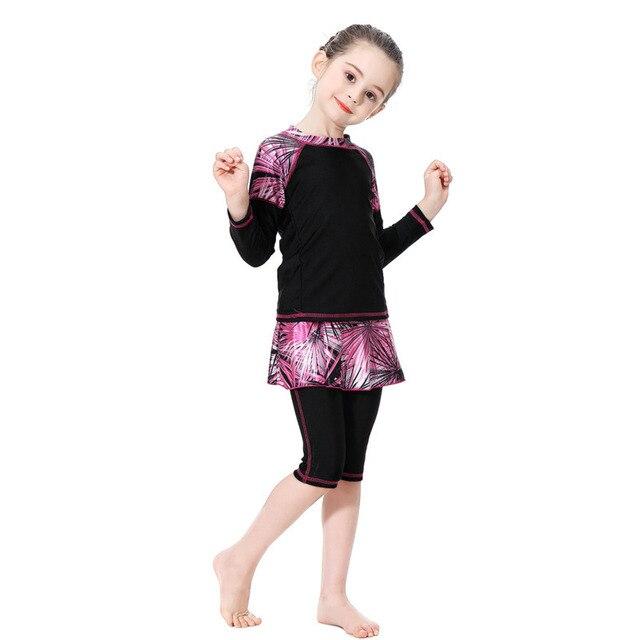 مسلم ملابس السباحة للأطفال البحرية الأزرق الإسلامية فتاة متواضع المايوه كاب طويلة الأكمام ملابس السباحة 3 قطعة زائد حجم السباحة 90 سنتيمتر 160 سنتيمتر