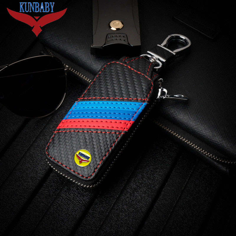KUNBABY Top Men/Womens New Fashion Carbon Car Keys Bag Keys Chains Case Holder Leather Key Wallet For BMW/BENZ/VW and so on