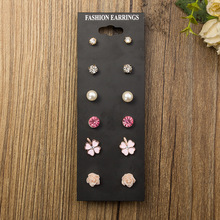 6 Pairs fashion Clover Pearl Ball Masks CZ Diamonds Stud Earrings With Card