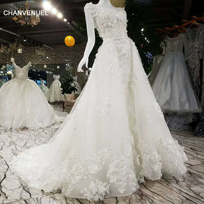 LSS012 Luxury wedding dress with detachable train lace beading A line lace  up lace bridal wedding 834b6d501f74