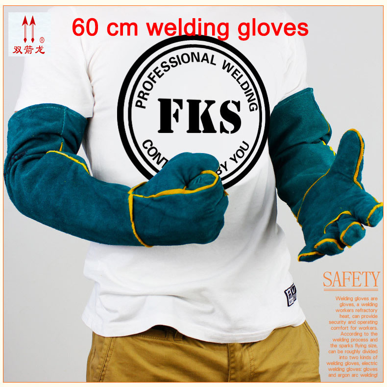High quality blue gloves work leather wear big yards 60cmwelding gloves heat mechanic gloves full leather high quality hand tool gloves 12 pairs 700g cotton gloves wear resistant work thick gloves against high low temperature gloves