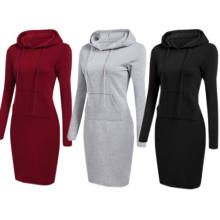 High Quality 2019 New Hot Sale Fashion Women's Casual Style Hooded Hoodie Long Sleeve Sweater Pocket Bodycon Tunic Dress Top(China)