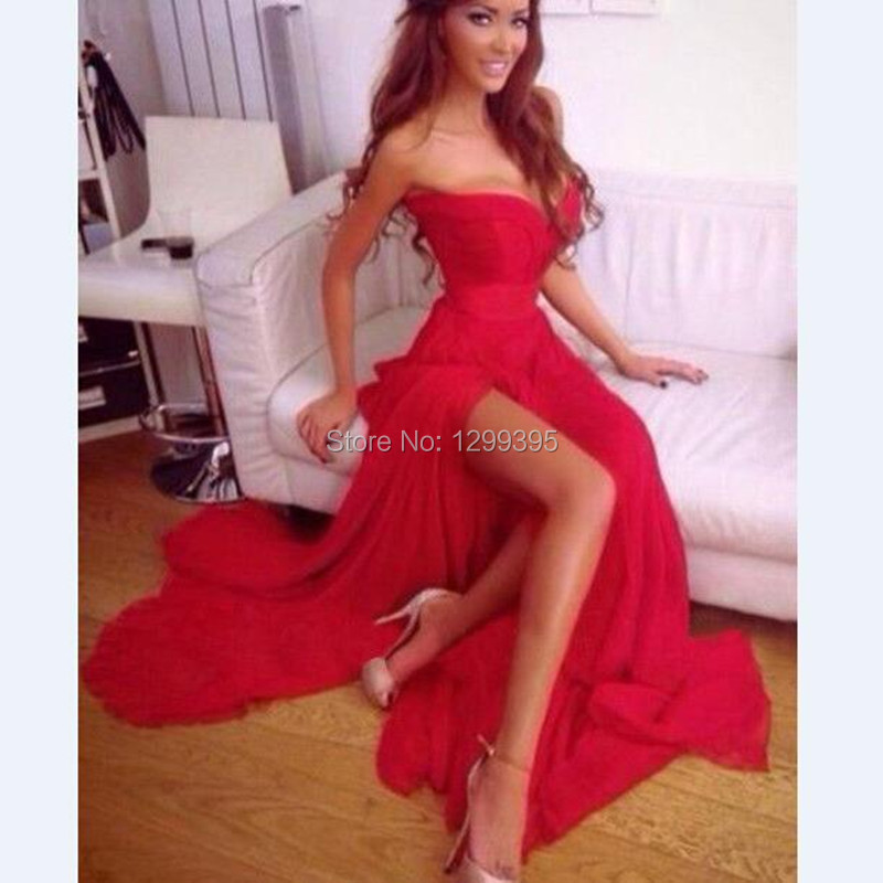 7b150fd07f Cheap Country Prom Dresses Sexy Red Prom Dresses 2016 Sleevess High Slit  Prom Dresses Simple Design Sheath Evening Gowns-in Prom Dresses from  Weddings ...