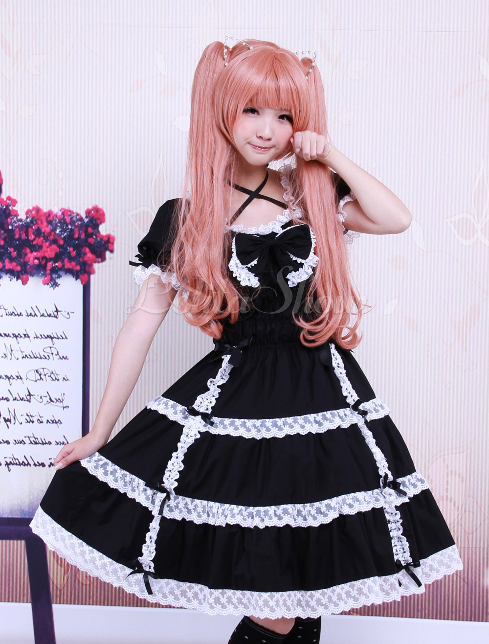 Free Shipping Cotton Black Lace Bow Short Sleeves Gothic Lolita Dress Cosplay Costume