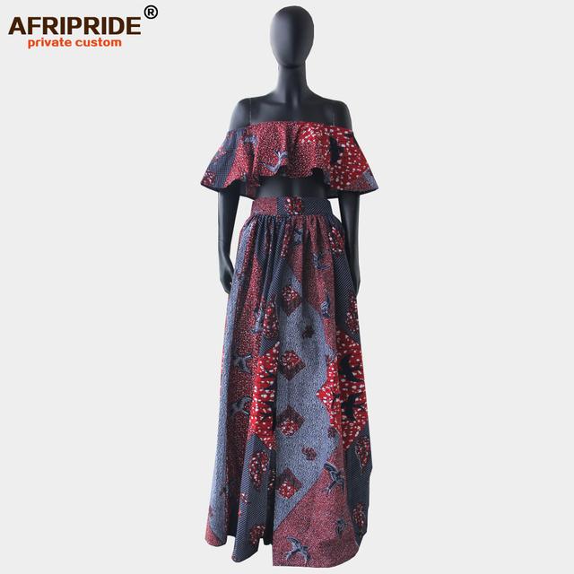 2018 summer sexy skirt set for women AFRIPRIDE customzied strapless short top+floor length split skirt women skirt set A1826006