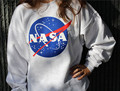 New Fashion Women Letters NASA Printed Long Sleeve Pullover Sweatshirt Loose Jumper Baseball Tee Tops Blouse