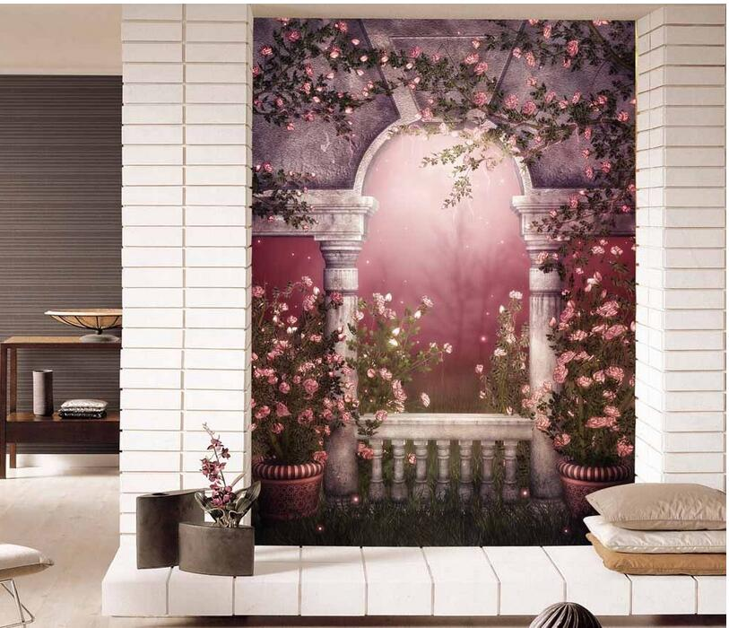 Custom photo 3d wallpaper Non-woven mural European arch rose flowers porch painting 3d wall murals wallpaper for living room free shipping european corridor wall painting background wallpaper hawaii non woven wallpaper mural