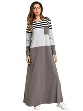 Women Plus Size 4XL Patchwork Maxi Dress Autumn Long Dress Islamic Dubai Long Sleeves Vintage Loose Striped Dress Arab Robe vertical striped patchwork expansion maxi dress