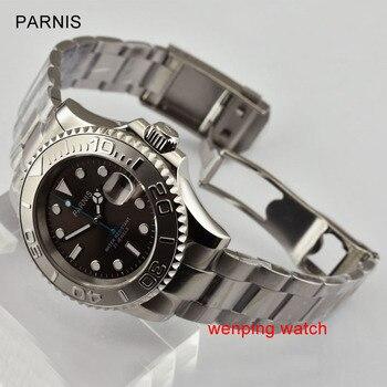 Parnis 40mm luminous Sapphire glass ceramic bidirectional rotating bezel gray dial movement Men watch E2472