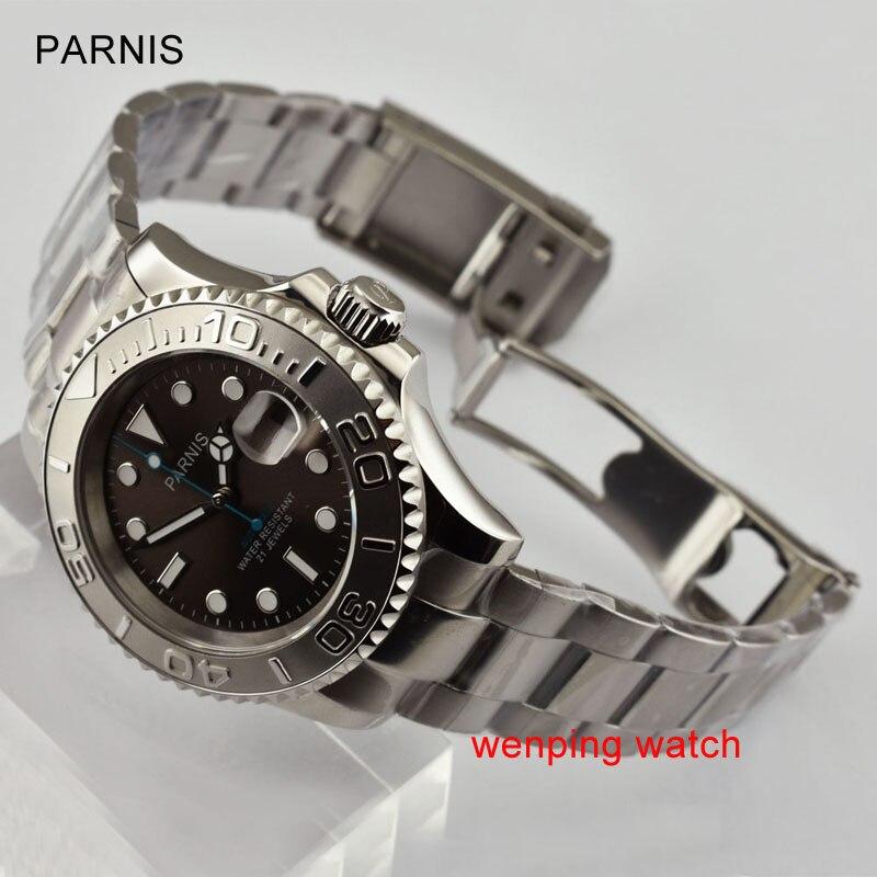 Parnis 40mm luminous Sapphire szklana ceramiczna dwukierunkowy obrotowy bezel szary dial ruch mężczyźni zegarek E2472 w Zegarki mechaniczne od Zegarki na  Grupa 1