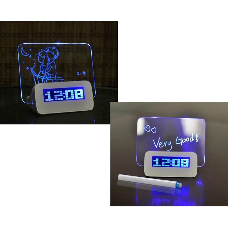 Digitale Wekker Led Despertador Fluorescerende Met Bericht Board Hub Bureau Tafel Met Kalender Blauw + Pen