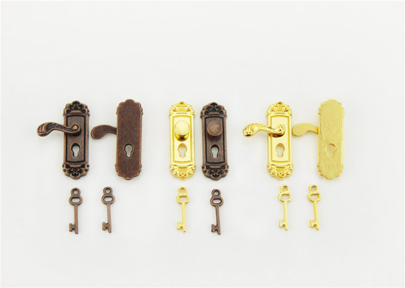 4 Pairs Dollhouse Miniature Bronze Door Knobs Handles with Keys DIY Items