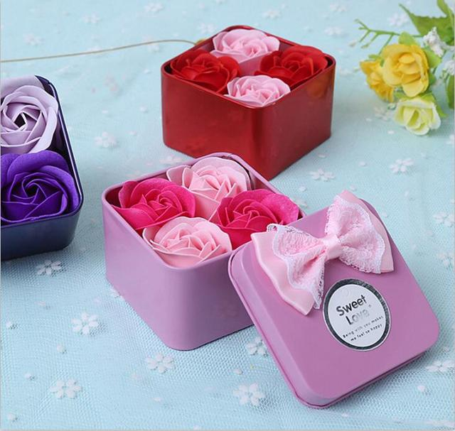 4 Cute Rose Flower Soap Box For Valentine\'s Day Festival Romantic ...