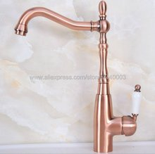 Antique Red Copper Kitchen Faucets Hot And Cold Water Mixer Tap 360 Degree Rotation Single Handle Knf634 стоимость
