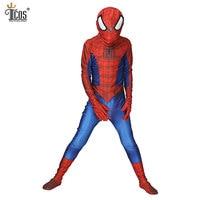 Kids Amazing Spiderman Cosplay Costume Spandex Lycra Zentai Second Skin Tight Suit Spider Man Halloween Party Bodysuit