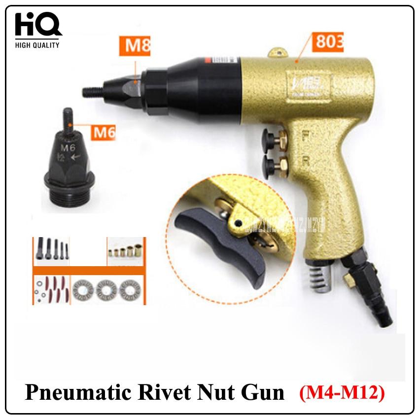 New Arrival M4-M12 Pneumatic Rivet Nut Gun( 803 Gun Body+M6/M8 Gun Head) 700rpm 5CFM 3/8 (9.5m / m)Pneumatic Pull Cap Gun стоимость