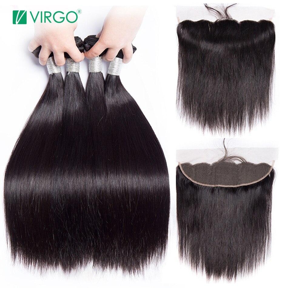 Volys Дева прямые волосы Связки с закрытием перуанский волос Связки человеческих волос Remy Кружева Фронтальная Закрытие с пучками 3 4 шт.