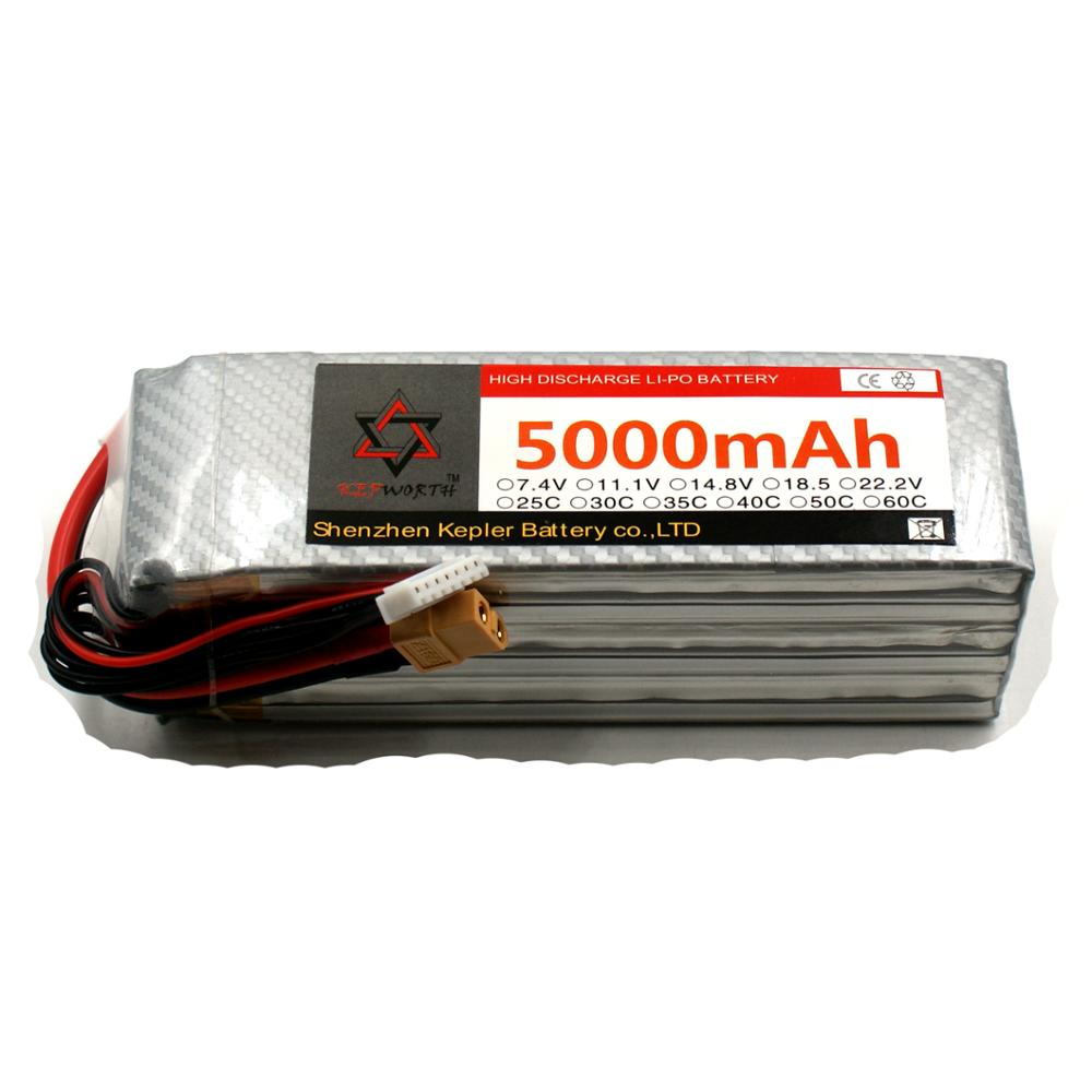 6S 22.2V RC Lipo Battery 5000mAh 35C Li-Polymer Battery For RC Car Plane Boat Helicopter Truck Tank image