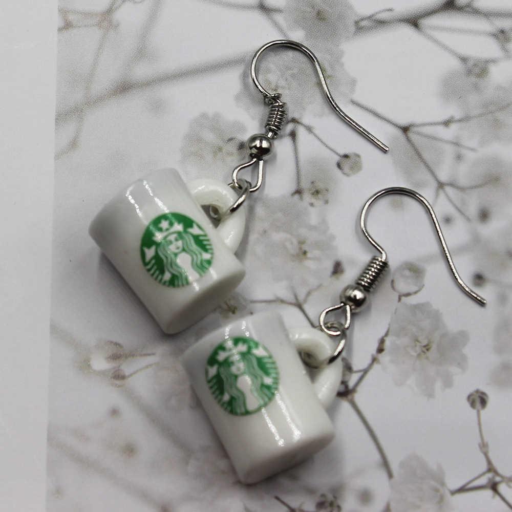 חדש סימולציה קפה כוס עגילי אופנה creative עגיל לנשים מתנת עגילי תכשיטים סיטונאי
