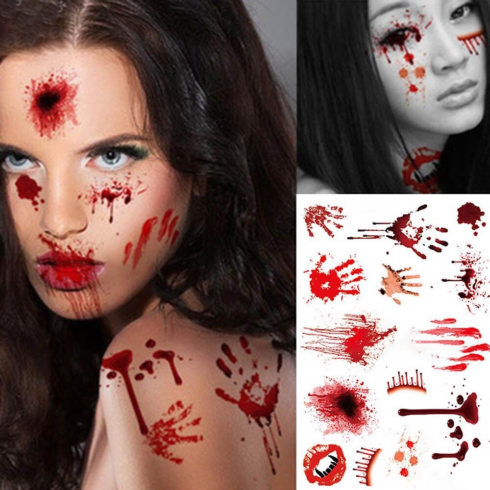 للماء الرعب مخيف الجرح الدم إصابة ندبة الوشم ملصق هالوين الجسم