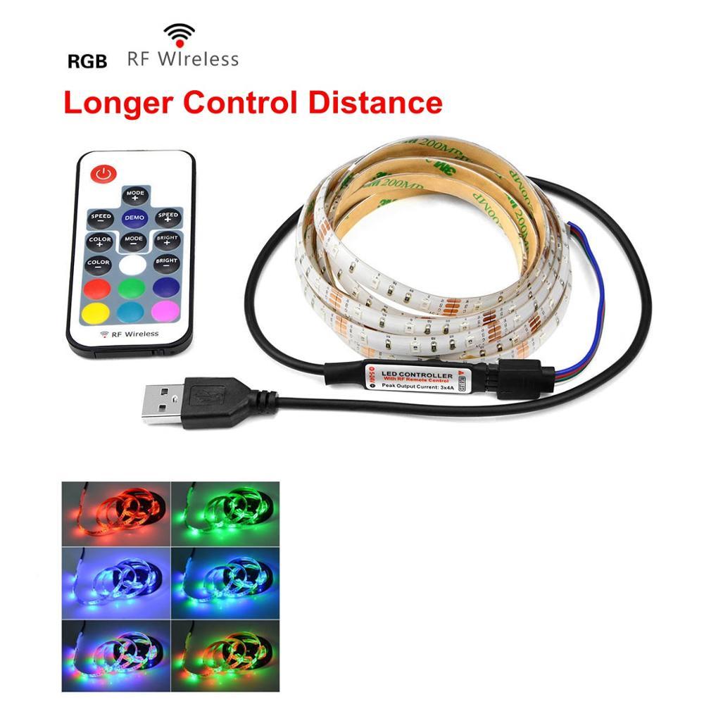 RGB светильник для Kicthen лампы 1 м 2 м 3 м 4 м 5 м водонепроницаемый светодиодный светильник s для шкафа Шкаф украшение Ночной светильник светодиодный Диод - Цвет: RGB With RF Remoter
