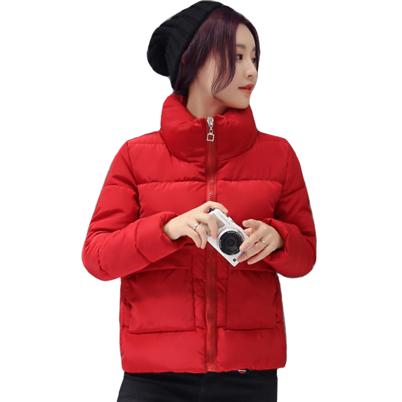 2019 Jacket Women Winter Warm Thick Solid Short Style Cotton padded   Parkas   Coat Stand Collar XL XXL