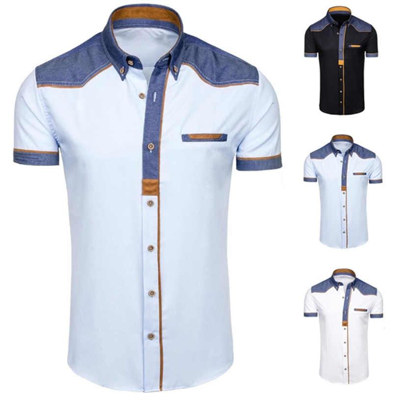 ZOGAA ブランドメンズシャツカジュアルスリムフィット半袖ドレスシャツスマートカジュアルファッション白ヴィンテージ男性の服