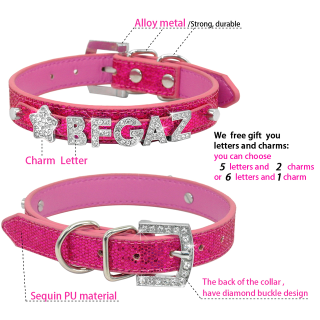 Bling Personalized PU Leather Small Dog Collar Leash Set Customized Crystal Rhinestones Free  Name & Charm Gift