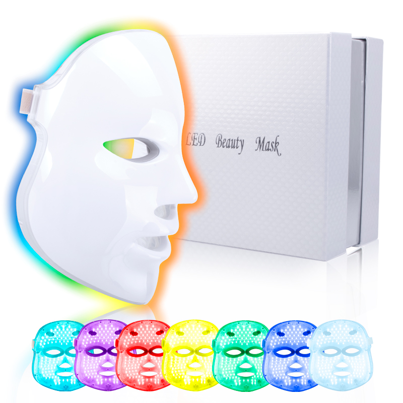 7 Colors LED Mask Light Photon Electric Facial LED Mask Skin PDT Rejuvenation Anti Acne Wrinkle Removal Therapy Beauty Salon