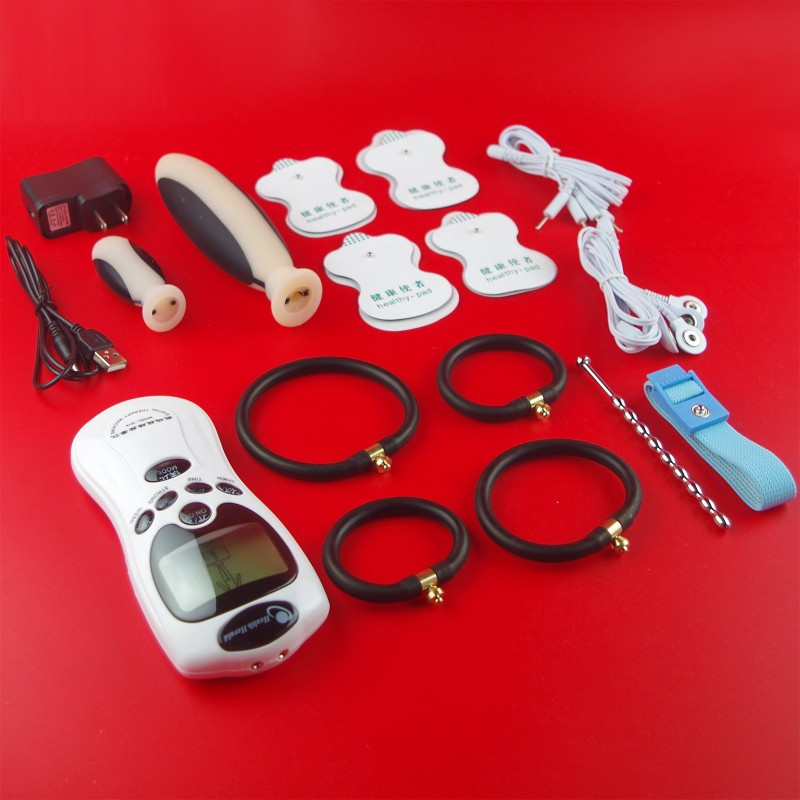 Adult Electric Shock Kit Penis Extender Cock Ring+Urethral Plug+Clitoris Massage Stimulate Patch+ Vagina Anal Plug SEX PRODUCT hot electric shock medical themed toys kit penis rings massage pad anal butt vagina plug electro shock sex toys for men couples