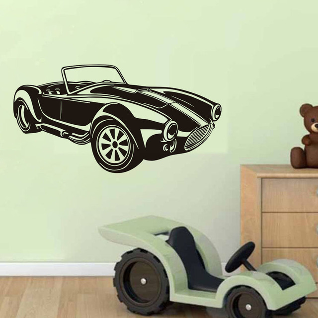 Classic Racing Car Wall Decals Vinyl Large Wall Sticker Mural Interior  Design Car Logo Headboard Home