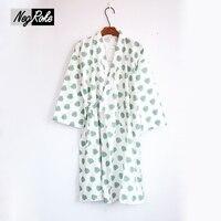Mùa Hè mới thời trang nhật bản lá kimono áo choàng áo choàng phụ nữ nightdress 100% cotton ladies sleepshirts áo choàng tắm cho nữ áo choàng
