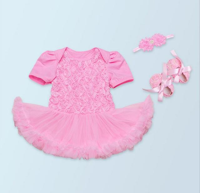 962ba1734387 3PCs per Set Baby Girl Romper Newborn Baby Girl Dress Flower ...