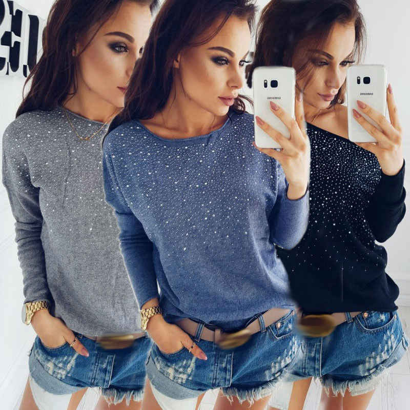 Diamond Loose Long Sleeve O-neck Sweater 2017 New Fashion Women  Knitted Sweater Jumper Outwear Coat Knitwear