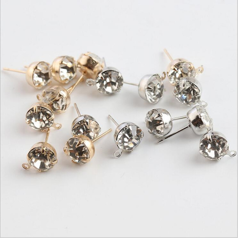 50pcs 4/5/6/8mm Rhinestone Ear Post Pins Needles Earring Stud Blocks For DIY Handmade Stud Earring With Loops Jewelry Making