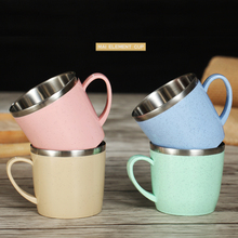 Cordial Shining Children Cup Stainless Steel Baby Drinking Cup Eco-friendly Simple Flat Bottom Cup With Handle Small Wheat Cup