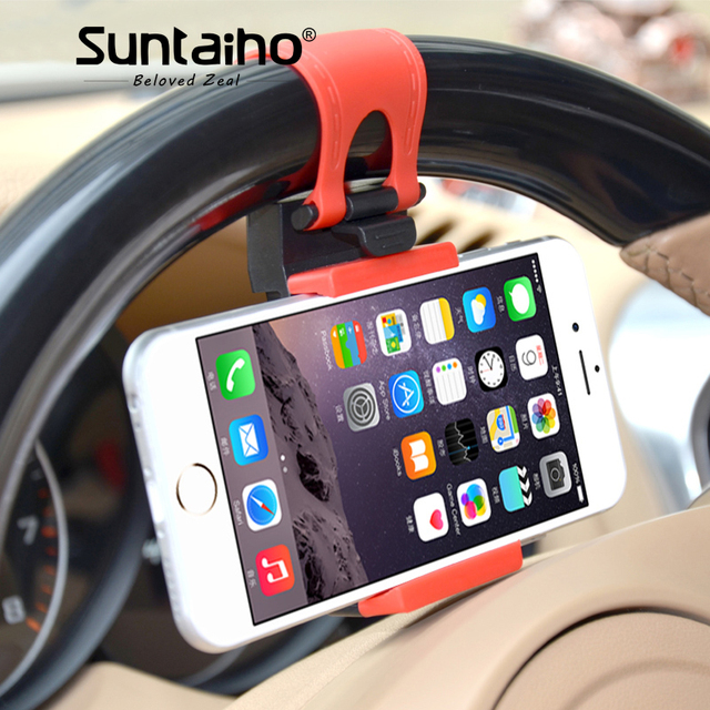 Suntaiho Car Phone Holder for xiaomi mi8 for iPhone 8 7 Car Steering Wheel Clip Mount Phone Car Holder for Samsung S9 GPS Huawei