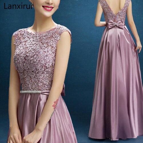 Nouveauté rouge bleu rose violet longueur de plancher dame fille femmes princesse demoiselle d'honneur Banquet fête robe de bal livraison rapide - 2