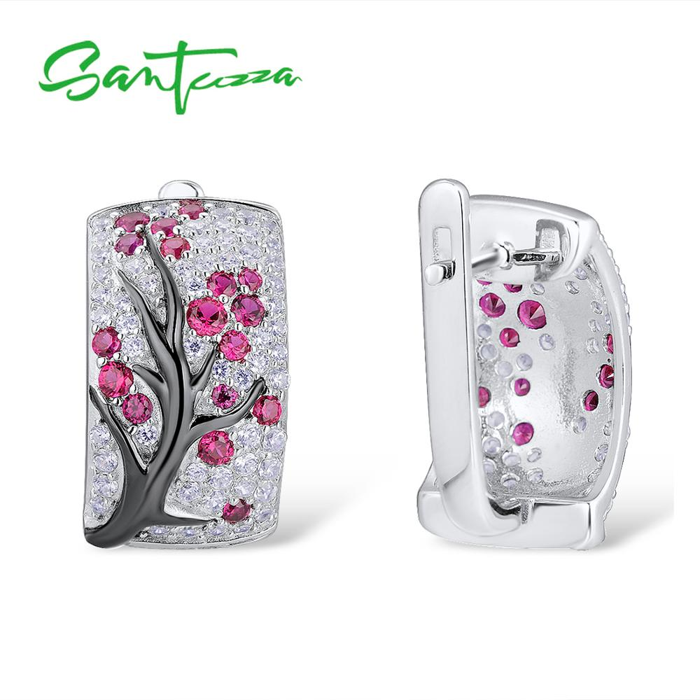 Image 3 - SANTUZZA Silver Jewelry Set for Women Shiny Pink Tree Earrings Ring Set 925 Sterling Silver сережки кольца Fashion Jewelry-in Jewelry Sets from Jewelry & Accessories