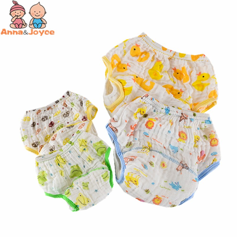 10pc/lot Baby Wash Gauze Anti-side Leakage Cloth Diaper Baby Cartoon Printing Learning Pants Infant Printing Training Pants
