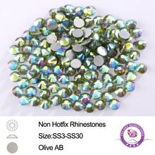 288-1440pcs SS3 - SS30 Olive AB Loose Strass Nail Art Flatback Non Hotfix Rhinestone For Gems