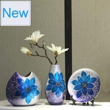3pcs/Set Creative ceramic vase Hand painted Antique Porcelain flower with vase for flowers wedding decoration home decor moderno недорого