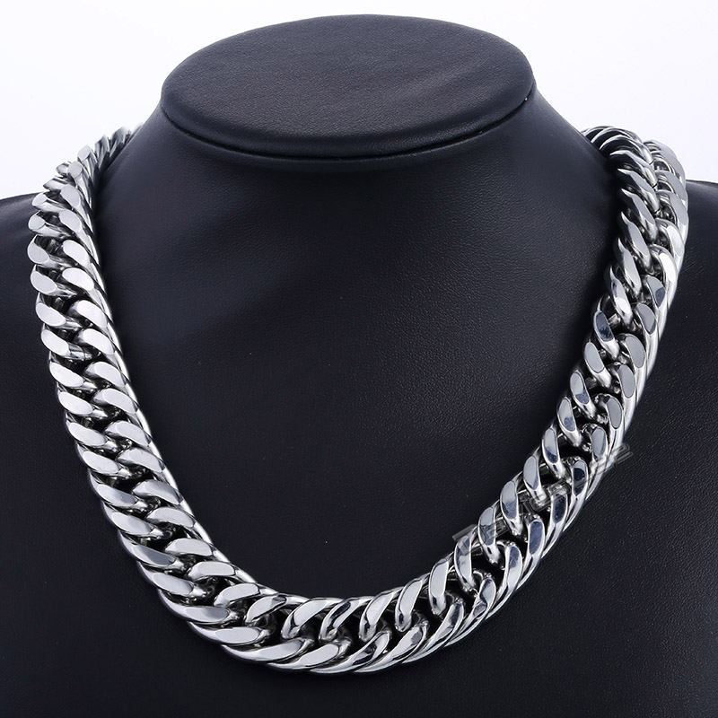 Davieslee 18mm Wide Heavy Cut Double Curb Cuban Link 316L Stainless Steel Necklace Boys Mens Chain DLHN44
