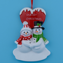 Christmas Couple Snowman Resin Glossy Hang Personalized Christmas Ornaments For Lover