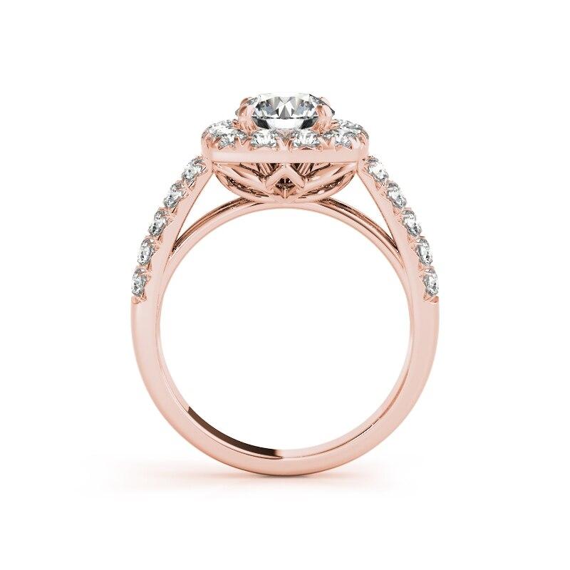 AINUOSHI 925 argent Sterling couleur or Rose femmes bague ensembles 1ct coupe ronde fiançailles mariage anniversaire Halo bague ensembles bijoux - 3