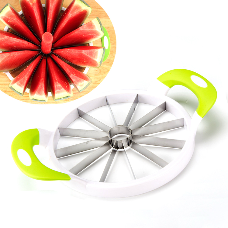 Large Stainless Steel Slicer, Slices Fruit, Melons, Watermelon, Pineapple, Vegetables and More  (12 Perfect Slices)